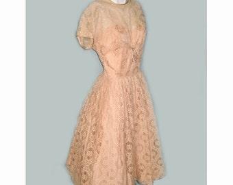 1950's R & K Originals Peach Lace Party Dress