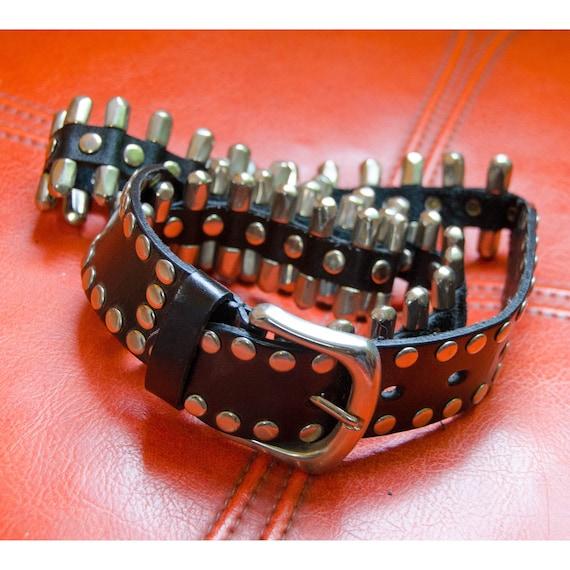 Vintage 1980's Punk Black Leather and Metal Belt W