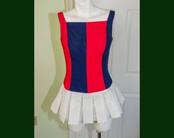 Vintage 1960's Woman's Cheerleeding Style Romper Playsuit with Pleated Skirt
