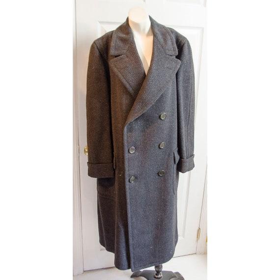 Rare 1930's Men's Dark Grey Print Wool Long Coat