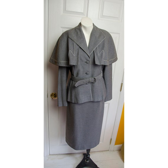 Rare 1950's 1940's Lilli Ann Grey Wool Woman's Sui