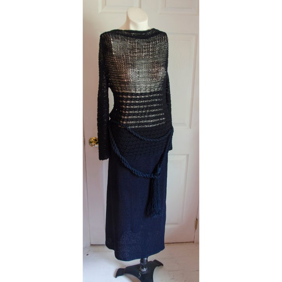 Vintage 1920's 1930's Crochet Black Knit Sweater S
