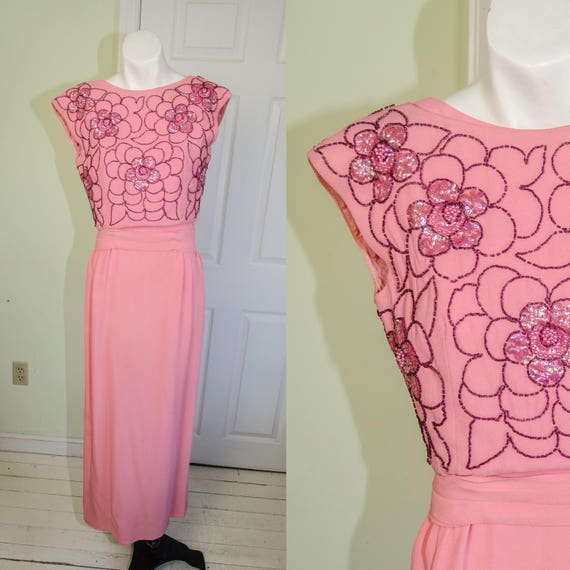Vintage 60's Pink Sequin Bombshell Suzy Perette Dr