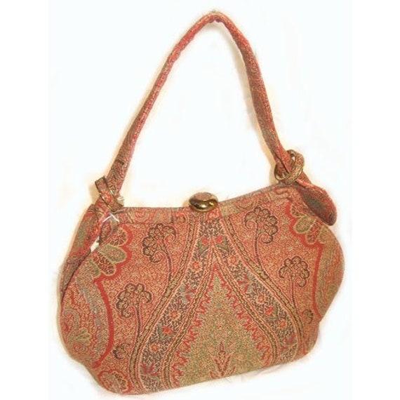 Vintage 1940s Victorian Petite Point Shawl Handbag