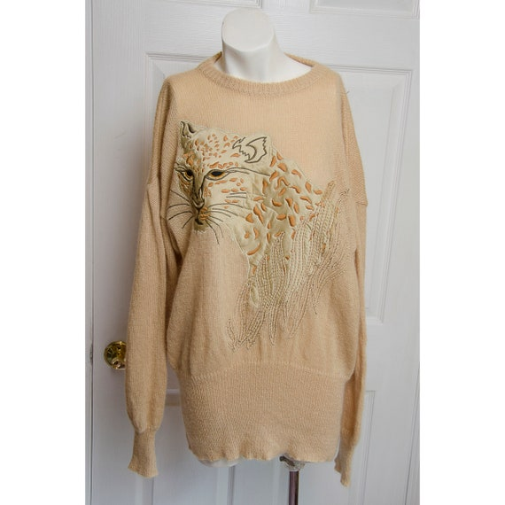 Early 1980's Escada Embroidered Leopard Sweater