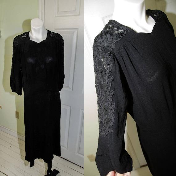 Vintage 1940's Woman's Black Crepe Cutaway Dress w