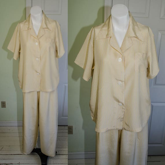 Vintage 1940's Yellow Striped Wide Legged Woman's