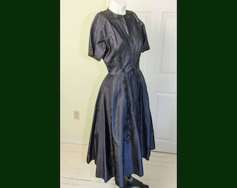 Vintage 1950's Dark Blue Grey Satin Dress with Soutache and Beading