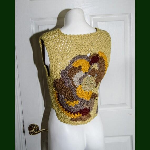 Vintage 1970's Woman's Crochet Sweater Vest XS