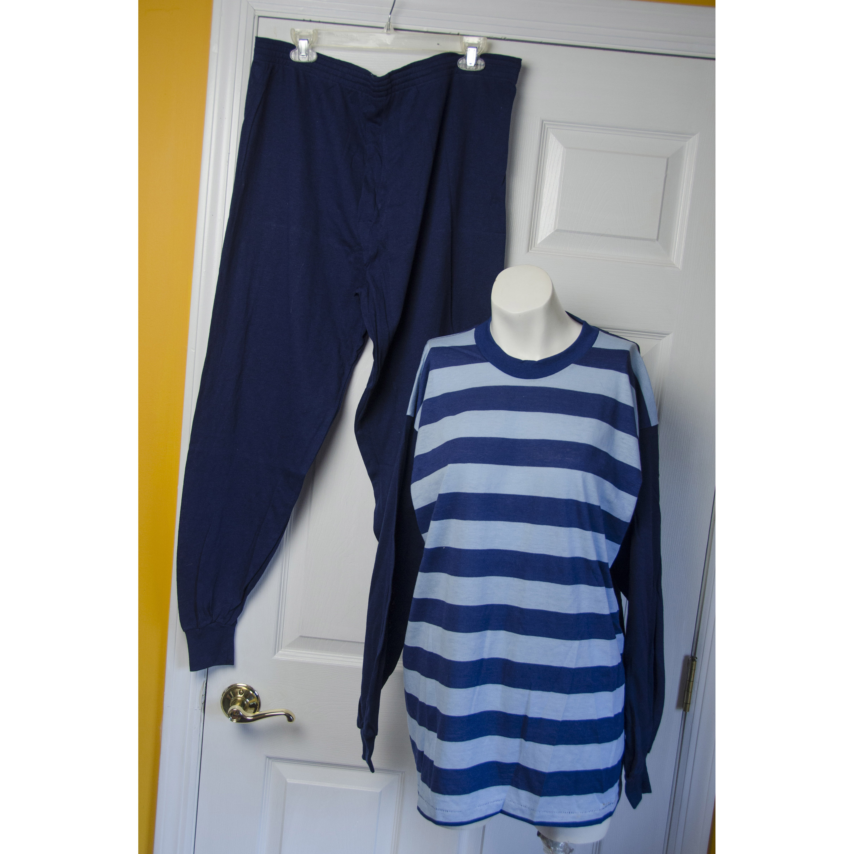 1960s – 70s Men's Ties | Skinny Ties, Slim Ties Vintage 1960s Mens Blue Striped Knit Pajamas $68.00 AT vintagedancer.com