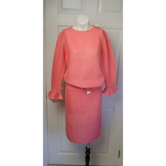 Vintage 1950's 1960's Jane Orwell Pink Knit Sweate