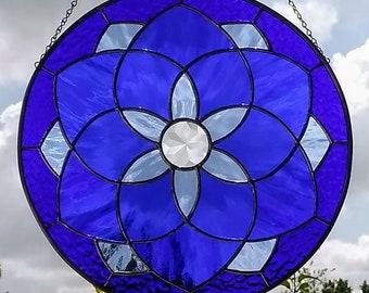 Shades of Blue Stained Glass Geometric Star Mandala Suncatcher Panel