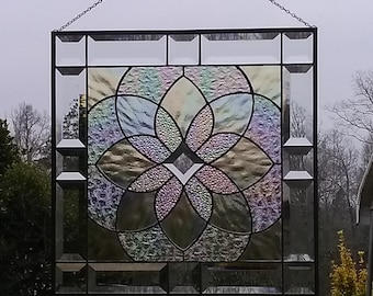 Clear Iridescent Beveled Stained Glass Geometric Starburst Design Hanging Panel