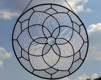 Stained Glass Clear Textures Geometric Star Mandala Suncatcher Panel