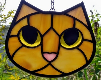 Stained Glass Cat Face Ginger Orange Amber with Golden Eyes Suncatcher