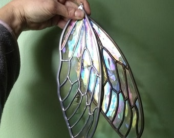 Iridescent Stained Glass Cicada Insect Wing Suncatcher