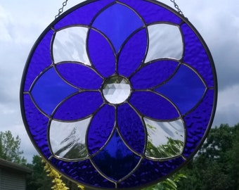 Cobalt Blue Textured Stained Glass Round Mandala Suncatcher with Center Glass Faceted Jewel