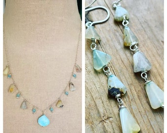 Blue Opal Necklace and Earring Set. Sterling Silver October Birthstone Ocean Blues Gemstone Jewelry Aqua Blue Tropical Natural Tones OOAK