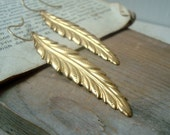 Large Brass Feather Earrings Native American Statement Earrings Nature Inspired Brass Jewelry Gifts Under 40