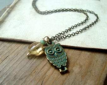 Green Owl Necklace with Gemstones Jewelry November Citrine Bridesmaid Brass Jewelry Woodland Nature Weddings Owl Nature Inspired Rustic