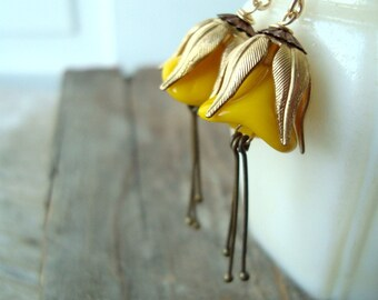 Golden Yellow Blossom Earrings Brass Vintage Style Fall Fashion Shabby Chic Jewelry Flower Jewelry Floral Earrings Fall Bridesmaids
