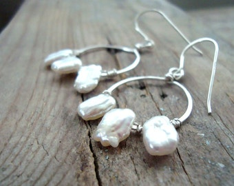 Small Hoop Earrings With White Keshi Pearl Sterling Wire Wrapped June Birthstone Pearl Jewelry Modern Bridal Metalwork Gifts Under 50