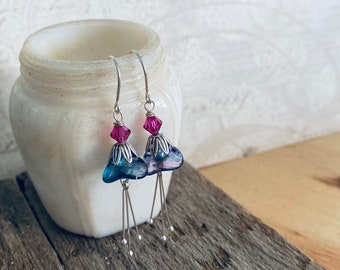Blue Holiday Blossom Earrings With Fuchsia Crystals Silver Mothers Day Bridesmaid Flower Floral Holiday Jewelry Gifts Under 40 Spring