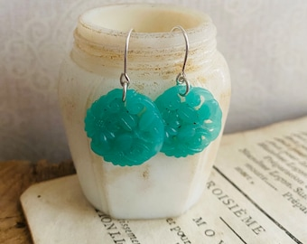 Floral Glass Cabochon Earrings Large Mint Green Vintage May Birthstone Sterling Silver Mothers Day Spring Holiday Jewelry Gifts Under 50