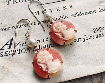 Cameo Earrings With Pearl Peach and Ivory Vintage Style Bridesmaid Jewelry Brass Old Fashioned Round Portrait Gifts For Her