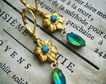 Brass Daisy Earrings With Rhinestones Mothers Day Bridesmaid Jewelry Flower Floral Holiday Jewelry Gifts Under 40 Spring