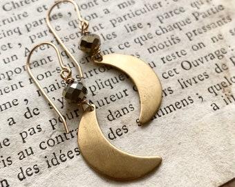 Brass Moon Earrings With Crystal Celestial Charms Charm Jewelry Simple Gifts Under 30 Gold Filled Gifts For Her