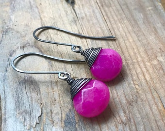Fuchsia Jade Earrings Candy Jade Oxidized Sterling Silver Wire Wrapped Spring Gifts Under 50 Long Dangles Rustic Gemstone Modern