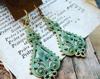 Filigree Earrings Hand Painted Green Aqua Leverbacks Gold Vintage Style Art Nouveau Mothers Day Jewelry Gifts Under 30 Metal Pendants