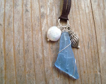 Blue Sea Glass Necklace With Silver Shell and Pearl - Leather Beach Glass Jewelry Summer Beachy Upcycled Sterling Silver Wire Wrapped