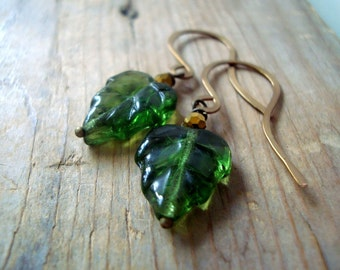 Green Maple Leaf Earrings Brass Jewelry Crystal Fall Fashion Spring Fashion Nature Inspired Woodland Leaf Jewelry Gifts Under 30