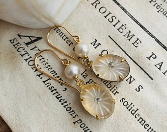 Rhinestone Oval Earrings With Pearl White Clear Crystal Gold Vintage Style Rhinestone Weddings Bridal Mothers Day Gifts Estate Jewelry