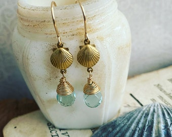 Brass Scallop Earrings With Aqua Crystal Beachy Jewelry Charm Jewelry Gold Earrings Beach Weddings Bridesmaid Jewelry Gifts Under 40