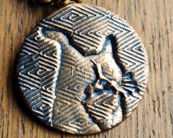 """Zig Zag Cat Copper Circle Pendant, 1"""" diameter necklace, 18"""" antiqued chain, blue stain. Maureen Gallagher Jewelry"""
