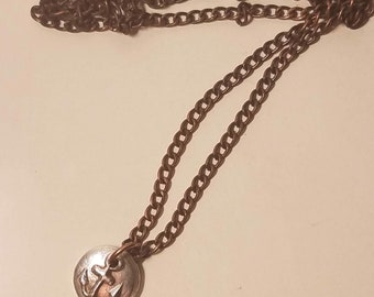 You Anchor Me, fine silver anchor charm on antiqued copper chain