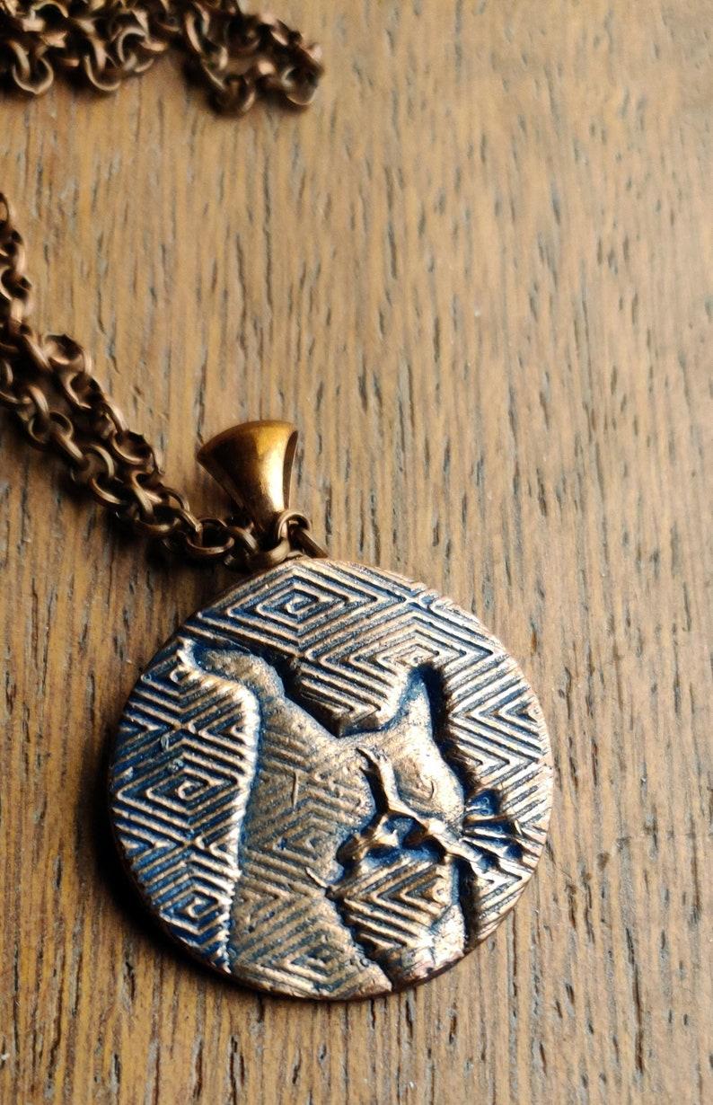 Zig Zag Cat Copper Circle Pendant 1 diameter necklace image 0