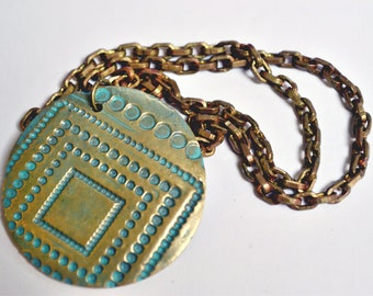 """Bold Bronze Circle with Squares Pendant, 2"""" circle necklace, mint green details, antiqued brass chain, Maureen Gallagher Jewelry"""
