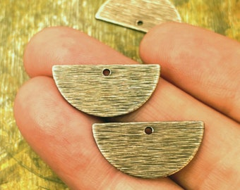 Half Round Brass Charms / Hand Antiqued / One Hole / Textured / Polished / Geometric Charm / Half Moon / Jewelry Supplies / Patina Queen