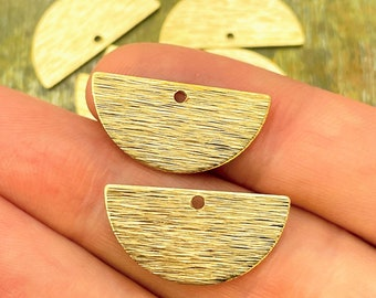 Raw Brass Half Round Charms / Textured / Semicircle / One Hole / Half Moon / Boho Jewelry Supplies / Patina Queen / READY to SHIP from USA