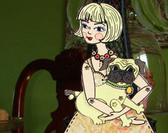 Digital PDF Articutlated Blondie and her pug Paper Doll set