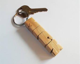 MICK - Sample Name Keychain in Oak Wood
