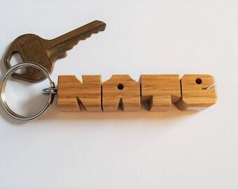 NATE - Sample Name Keychain in Oak Wood