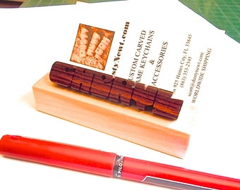 Desk Name and Business Card Holder in Rosewood and Maple Woods, Custom Carved to Order