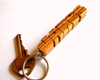 Name Keychain in Zebrano Wood, Carved to Order