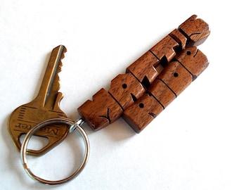 Wave Keychain in Walnut Wood, Custom Carved to Order