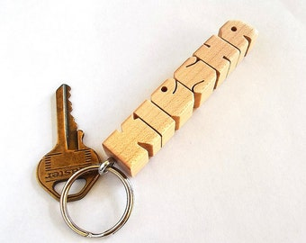 Maple Wood Name Keychain, Custom Carved to Order